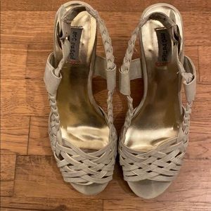 Not Rated nude/beige slingback wedges
